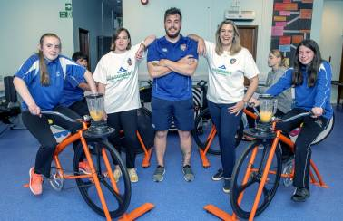 Local school children get on their (smoothie) bikes to learn about the importance of healthy eating