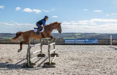 Levenseat Sands gives horse rider Giorgia Burns a jumping start