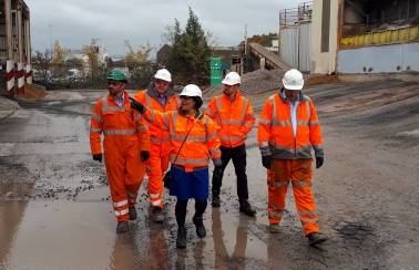 Recycling on the agenda as MP visits Aggregate Industries' Bristol asphalt plant